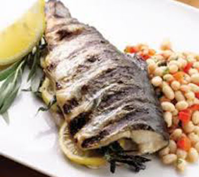 GRILLED WHOLE TROUT WITH LEMON-TARRAGON BEAN SALAD